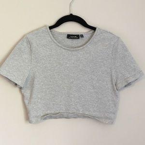 Kate Spade Saturday crop top grey shirt sleeve
